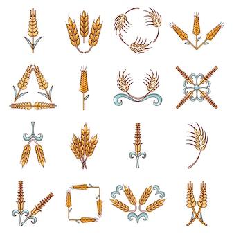 Conjunto de ícones de milho de orelha