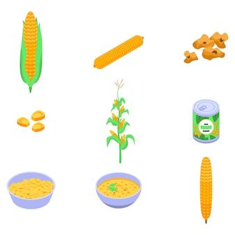 Conjunto de ícones de milho, estilo isométrico