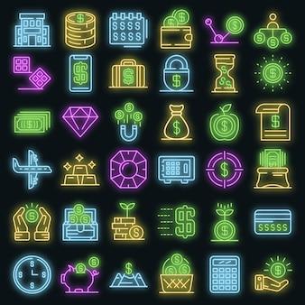 Conjunto de ícones de milionário. conjunto de contorno de ícones vetoriais milionários neoncolor em preto