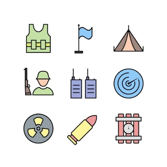 Conjunto de ícones de militares