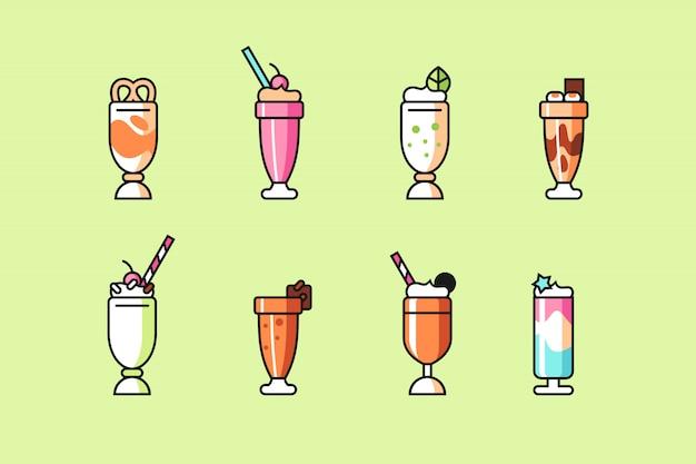 Conjunto de ícones de milk-shake