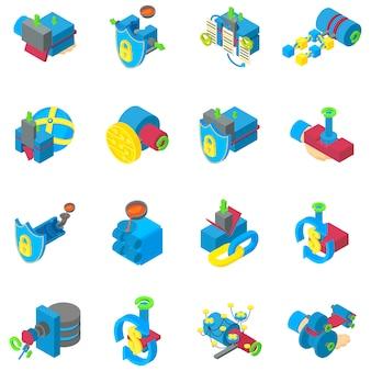 Conjunto de ícones de mineração cibernética, estilo isométrico