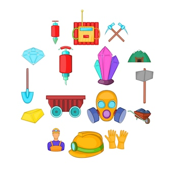 Conjunto de ícones de mineração, estilo cartoon
