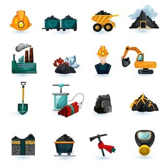 Conjunto de ícones de mineração