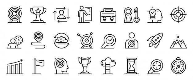 Conjunto de ícones de missão, estilo de estrutura de tópicos