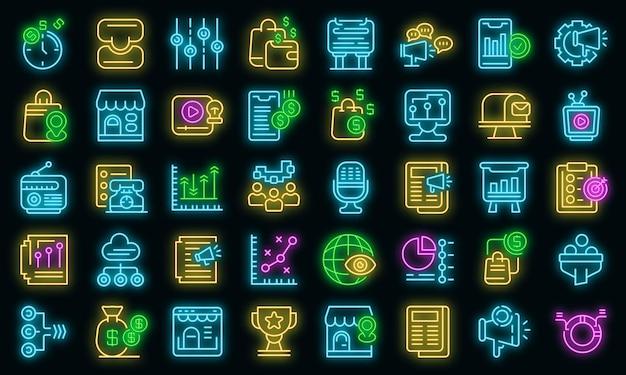 Conjunto de ícones de mix de marketing. conjunto de contorno de ícones de vetor de marketing mix, cor de néon no preto