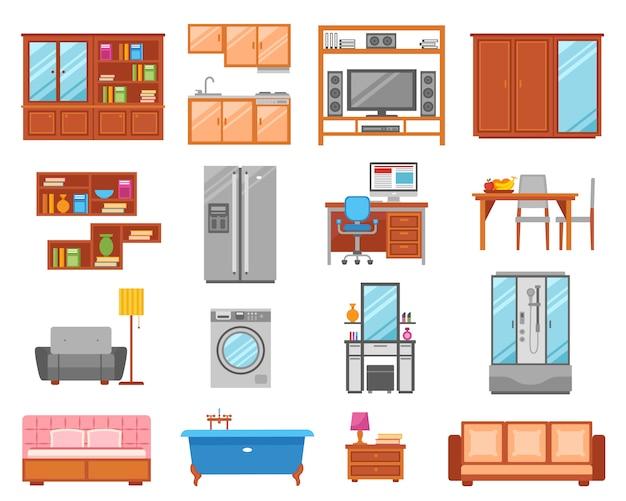 Conjunto de ícones de mobília isolado