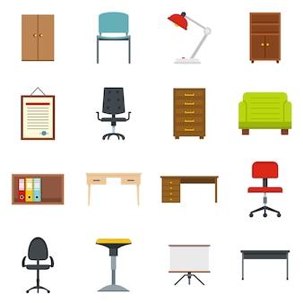 Conjunto de ícones de mobiliário de escritório em estilo simples