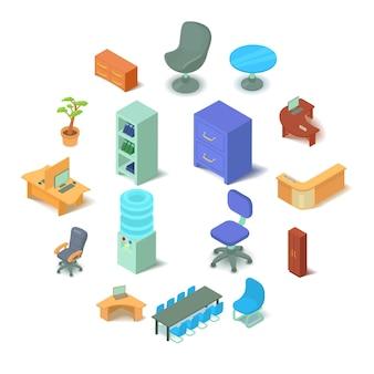 Conjunto de ícones de mobiliário de escritório, estilo isométrico