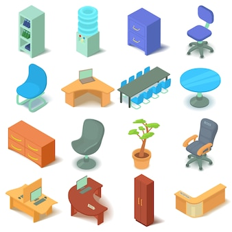 Conjunto de ícones de mobiliário de escritório. ilustração isométrica de 16 ícones de vetor de mobiliário de escritório para web