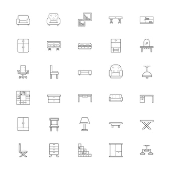 Conjunto de ícones de mobiliário interior