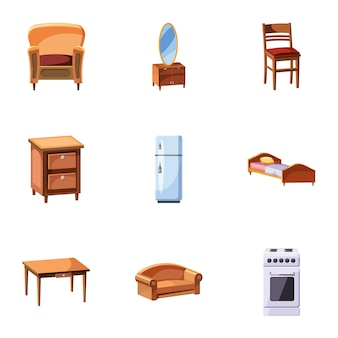 Conjunto de ícones de mobiliário para casa, estilo cartoon