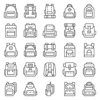 Conjunto de ícones de mochila. conjunto de contorno de ícones do vetor de mochila