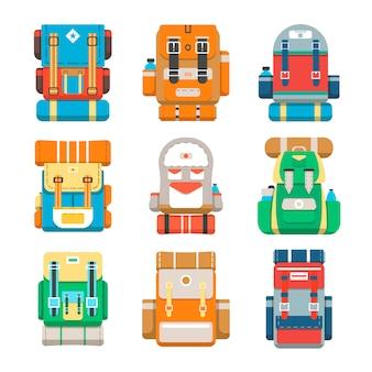 Conjunto de ícones de mochila de acampamento e viagens