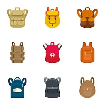 Conjunto de ícones de mochila escolar. plano conjunto de 9 ícones de vetor de mochila escolar