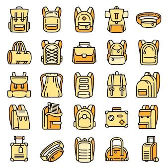 Conjunto de ícones de mochila, estilo de estrutura de tópicos