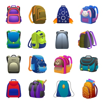 Conjunto de ícones de mochila, estilo desenho animado