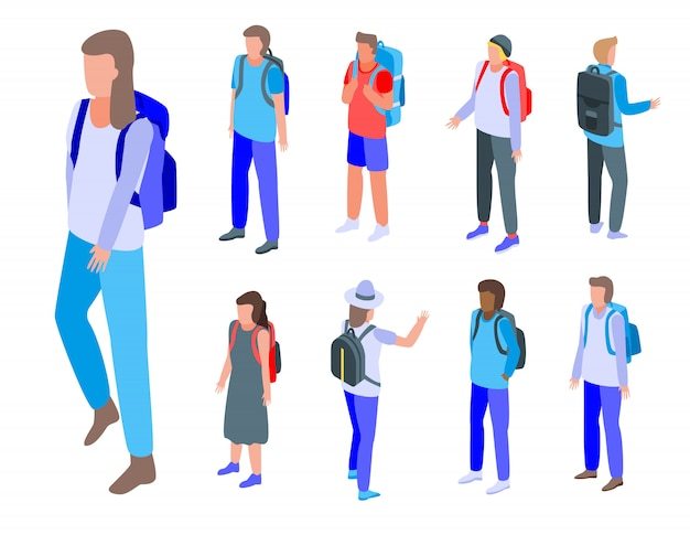 Conjunto de ícones de mochila, estilo isométrico Vetor Premium