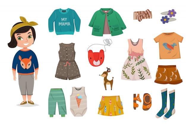 Conjunto de ícones de moda bebê menina plana