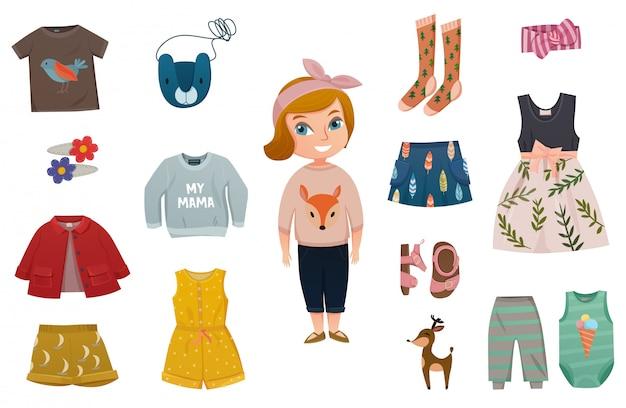 Conjunto de ícones de moda bebê menina