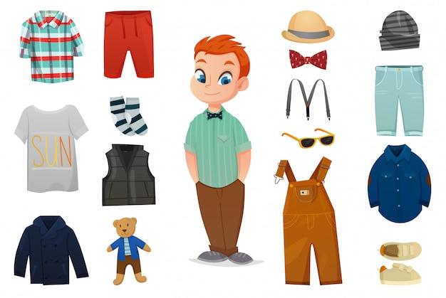 Conjunto de ícones de moda bebê menino
