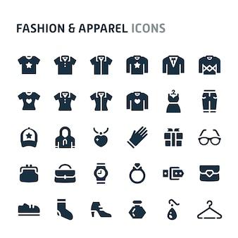 Conjunto de ícones de moda e vestuário. série de ícone preto fillio.