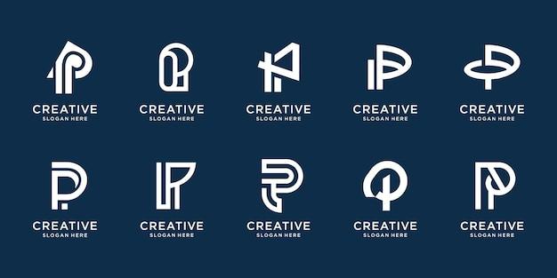 Conjunto de ícones de modelo de design de logotipo abstrato inicial letra p para negócios de luxo elegante simples premium vector