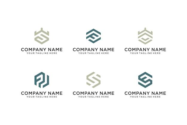 Conjunto de ícones de modelo de logotipo abstrato inicial letra f e letra s