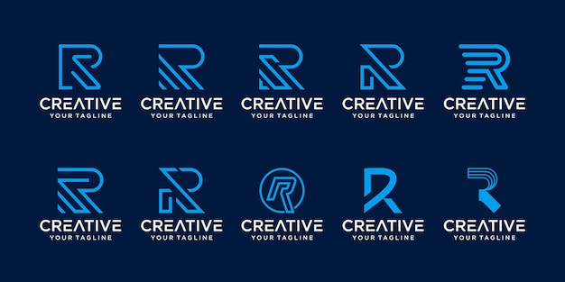 Conjunto de ícones de modelo de logotipo da letra inicial do monograma r rr para negócios da moda