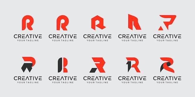 Conjunto de ícones de modelo de logotipo de letra inicial r rr para empresas de esporte automotivo