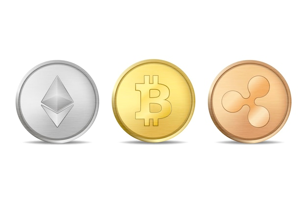Conjunto de ícones de moeda de criptografia de vetor realista. bitcoin, etherium, ripple. tecnologia blockchain. close up isolado no fundo branco. modelo de design para gráficos.