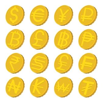 Conjunto de ícones de moeda em estilo cartoon isolado