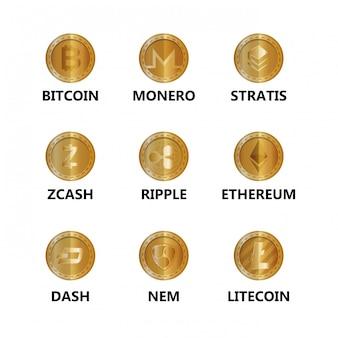 Conjunto de ícones de moedas virtuais