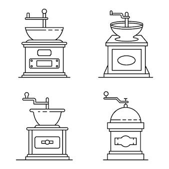 Conjunto de ícones de moedor de café. conjunto de contorno dos ícones de vetor de moedor de café