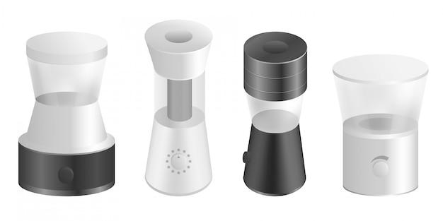 Conjunto de ícones de moedor de café, estilo realista