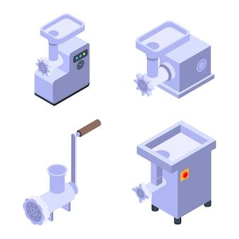 Conjunto de ícones de moedor de carne, estilo isométrico