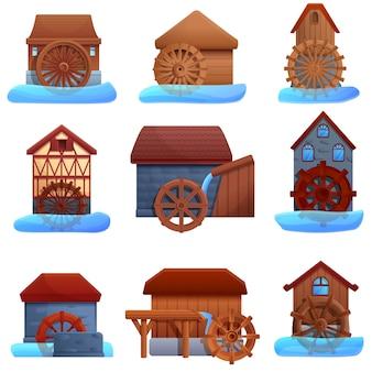 Conjunto de ícones de moinho de água, estilo cartoon