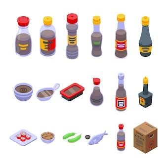 Conjunto de ícones de molho de soja. conjunto isométrico de ícones de vetor de molho de soja para web design isolado no fundo branco