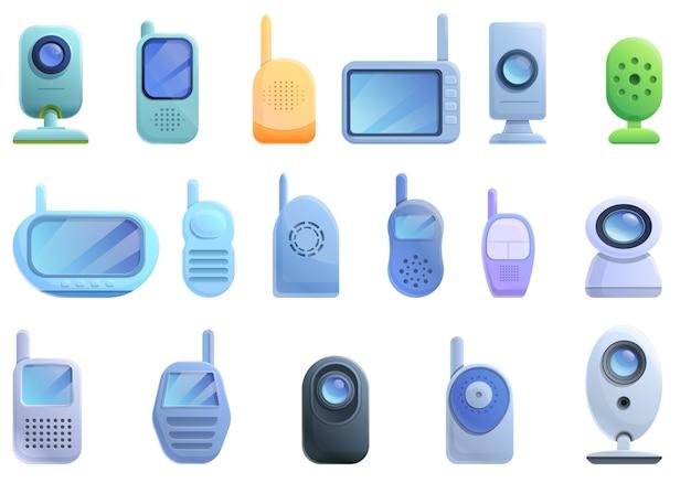Conjunto de ícones de monitor de bebê, estilo desenho animado