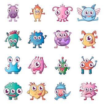 Conjunto de ícones de monstro assustador alienígena