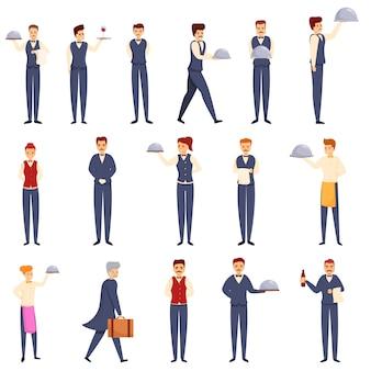 Conjunto de ícones de mordomo, estilo cartoon