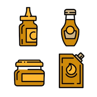 Conjunto de ícones de mostarda, estilo de estrutura de tópicos