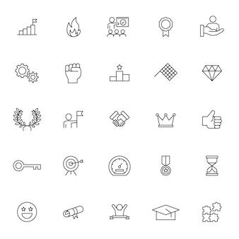 Conjunto de ícones de motivação com contorno simples