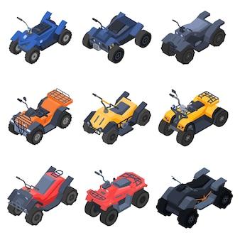 Conjunto de ícones de moto-quatro, estilo isométrico