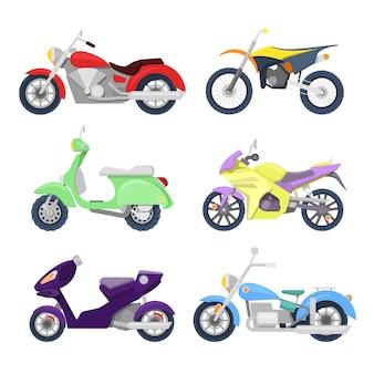 Conjunto de ícones de motocicletas com retro, moto esportiva e scooter.