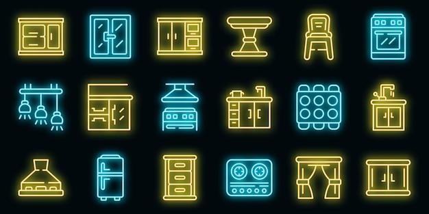 Conjunto de ícones de móveis de cozinha. conjunto de contorno de ícones de vetor de móveis de cozinha, cor de néon no preto