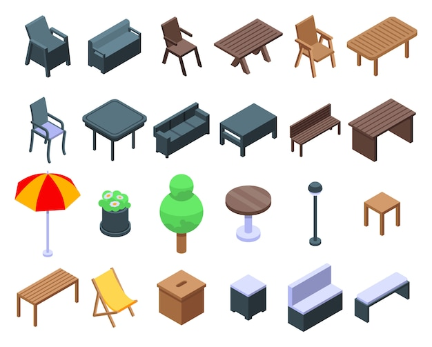 Conjunto de ícones de móveis de jardim, estilo isométrico
