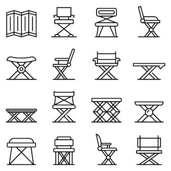 Conjunto de ícones de móveis dobráveis