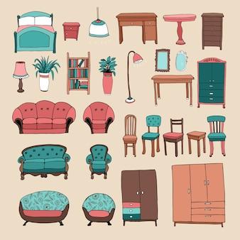 Conjunto de ícones de móveis e acessórios para casa