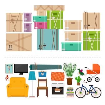 Conjunto de ícones de móveis e caixas